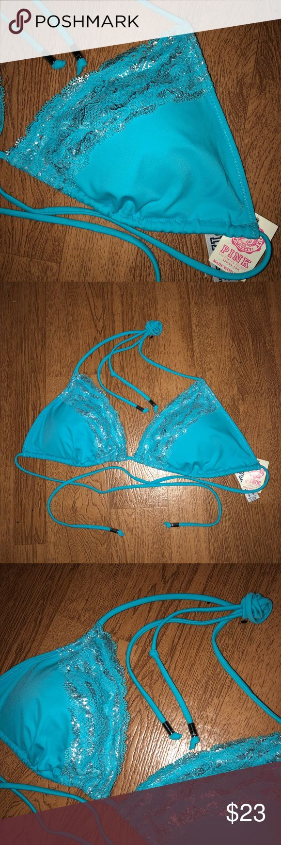 S PINK By Victoria's Secret Padded Triangle Bikini CONDITION: New with tag   BRAND: Victoria's Secret pink   SIZE: small   DETAILS: ice blue with silver detail. Lace bust trim with adjustable tie neck and back. Metal endings on strings. Padded but not push-up.   FLAWS: N/A  #VS #Swim #Top #AthensOH #forsale  #Fashion #Style #TopShopStyles #ClothesFORSALE  @CksClosetOverload  Item No. 9 PINK Victoria's Secret Swim Bikinis