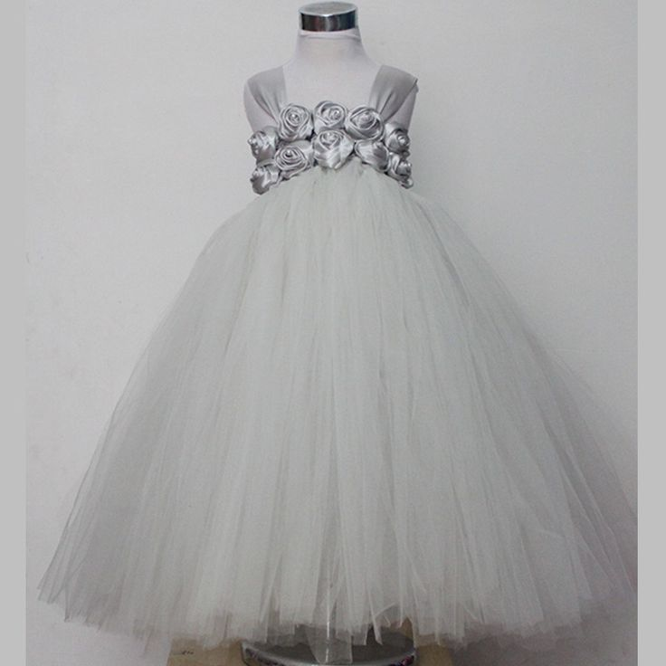 26.00$  Buy now - https://alitems.com/g/1e8d114494b01f4c715516525dc3e8/?i=5&ulp=https%3A%2F%2Fwww.aliexpress.com%2Fitem%2FHandmade-Tulle-Flower-Girl-Tutu-Dress-Gray-White-Princess-Dress-Kids-Party-Wedding-Dress-Children-Pageant%2F32783187083.html - Handmade Tulle Flower Girl Tutu Dress Gray White Princess Dress Kids Party Wedding Dress Children Pageant Performance Ball Gown