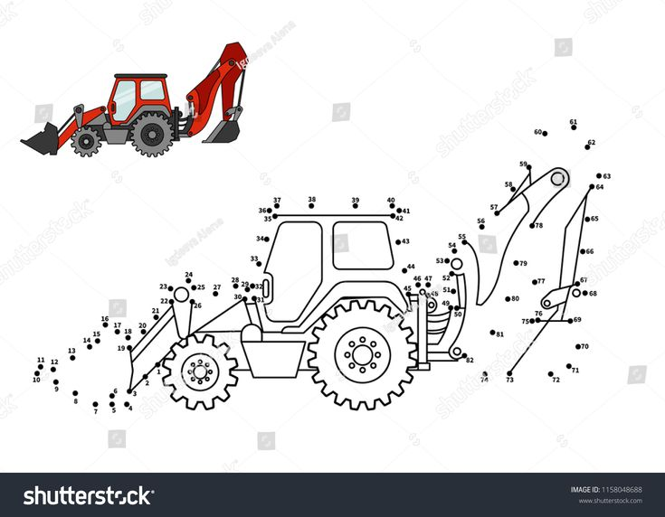 Special Equipment Backhoe Loader Connect The Dot And Color Game