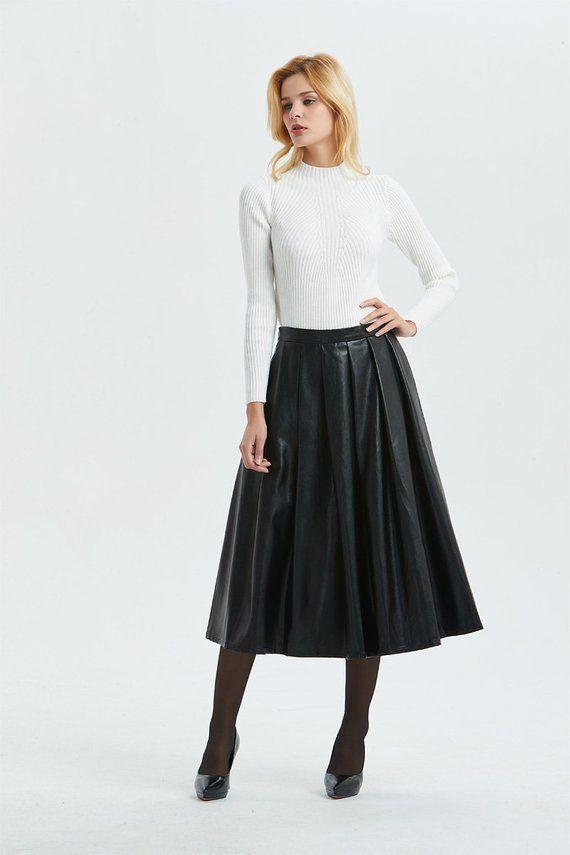 bb440ff94 Black PU skirt, PU skirt, midi skirt, womens skirt, winter skirt, warm skirt,  black skirt, faux leat