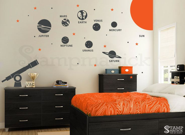 Solar System Wall Decal   Planets Wall Decal   Telescope Universe Outer  Space Wall Decal Wall