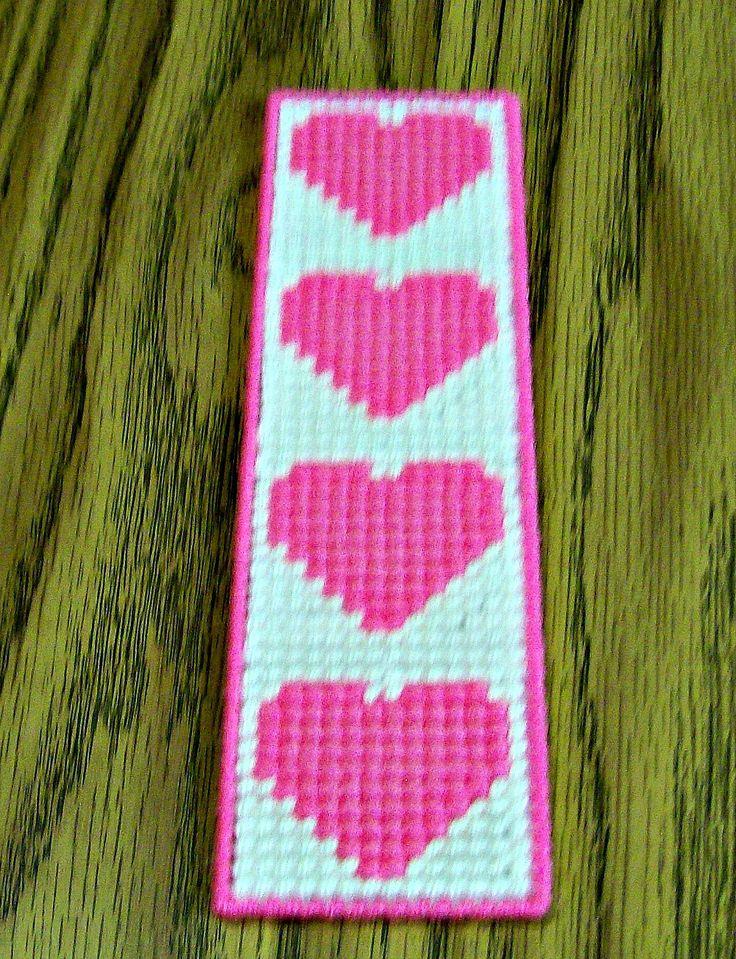 Valentine Bookmark, Plastic Canvas Bookmark, Yarn Bookmark, Handmade, Pink Hearts, Needle Craft, Cross Stitch by Margiecrafts on Etsy