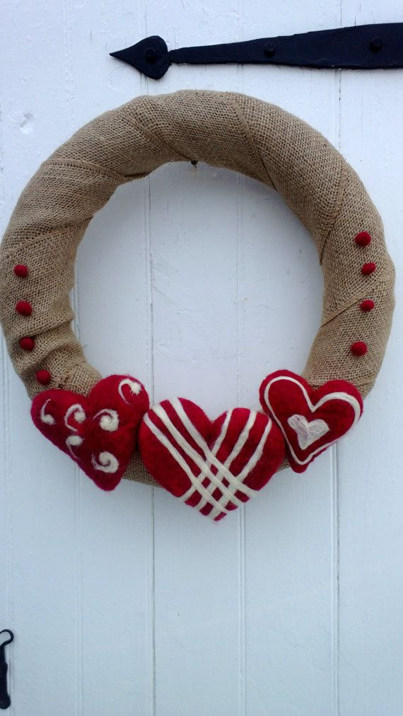 burlap valentines day wreath