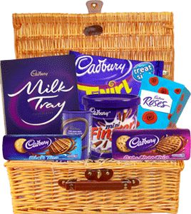 Food Ireland Death by Chocolate Gift Basket $65.99 - Indulge your passion for chocolate with this gift basket. Includes: Roses 220g, Milk Tray 220g, Luxury Double Choc Chunks cookies, Drinking Chocolate, Twirl Treatsize, Rich Tea Cookies and Mini Fingers Tub. There is nothing quite like Chocolate!