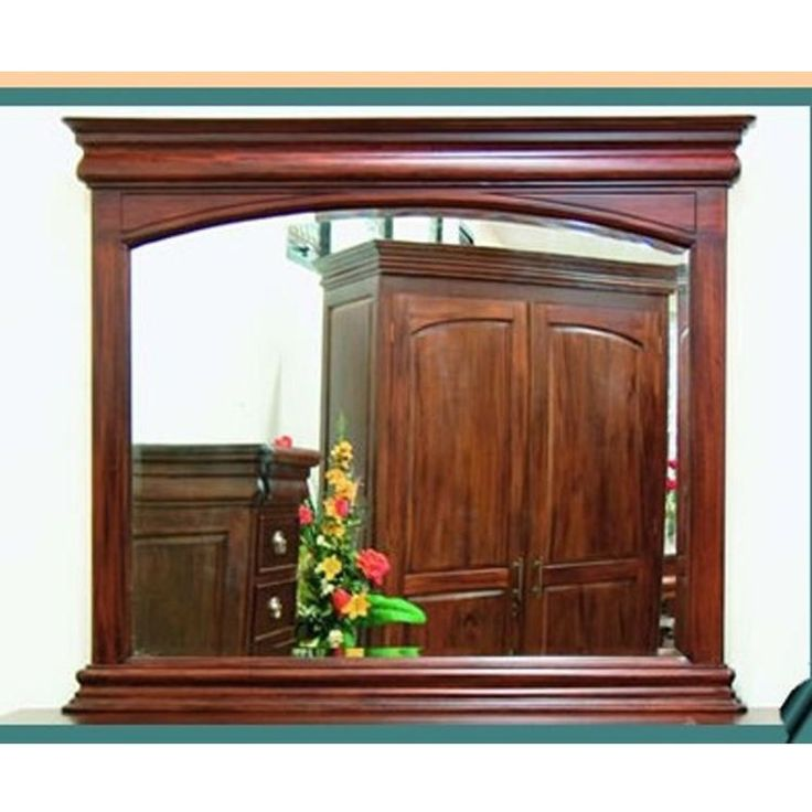 Antique Style Solid Mahogany Wood Beveled Glass Mirror