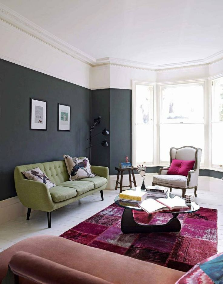 Dark grey living room