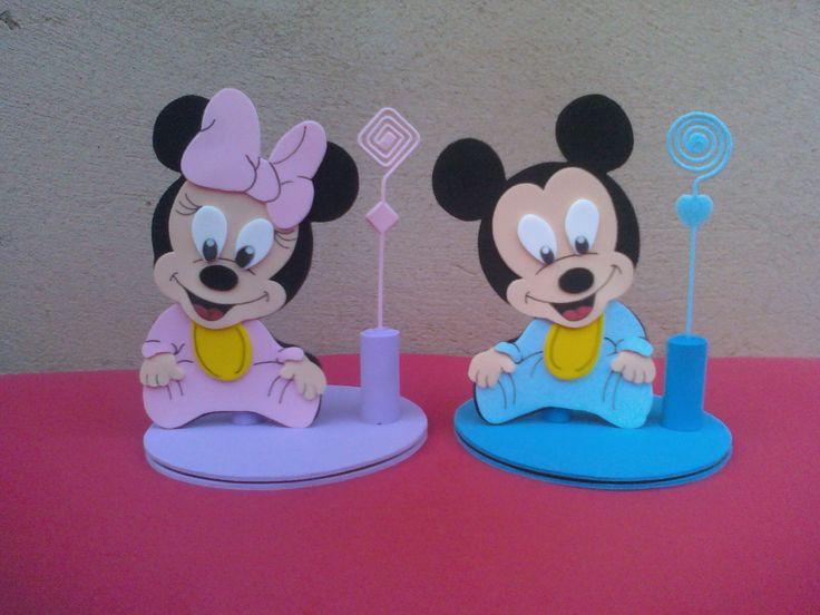 enfeite de mesa mickey e minie baby