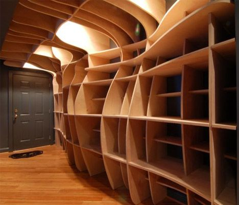 Entry way of book shelves