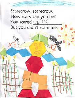 scarecrow art, math,writing: Class Books, 12 Squares, Fall Ideas, Math Ideas, Business Kindergarten, Scary Scarecrows, Scarecrows Crafts, Pattern Blocks, Patterns Blocks