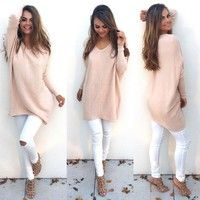 Wish | Fashion Women Sweater 2017 New Autumn Long Sleeve Tops Solid Blouse Ladies Knitwear Pullover Jumper