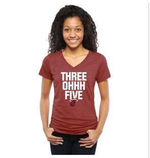 Miami Heat Women's Crimson Area Code Tri-Blend V-Neck T-Shirt