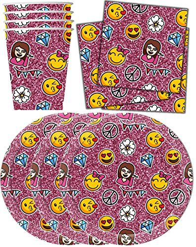 Emoji Glittter Party Supplies Set for 16