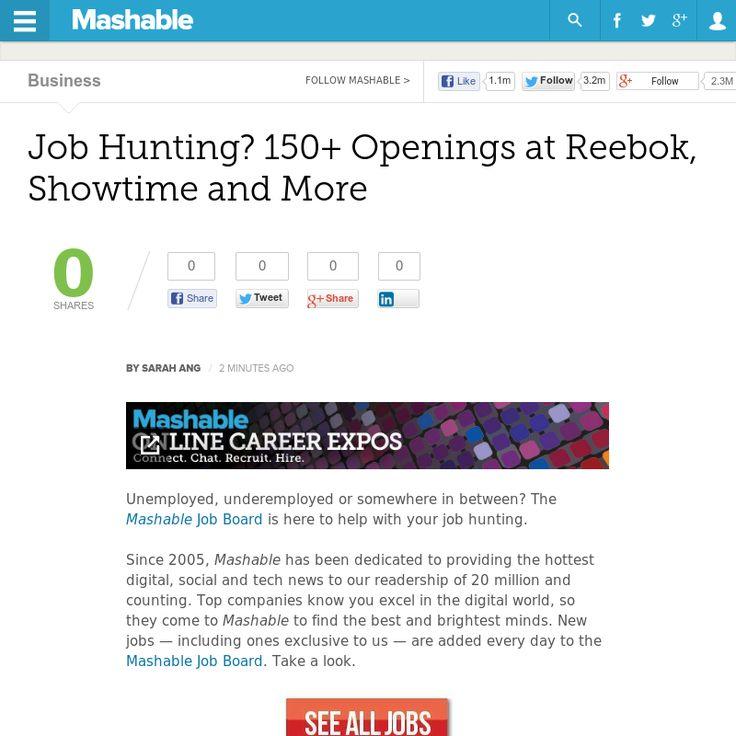 http://mashable.com/2013/06/23/job-hunting-4/ Job Hunting? 150+ Openings at Reebok, Showtime and More | #Indiegogo #fundraising http://igg.me/at/tn5/