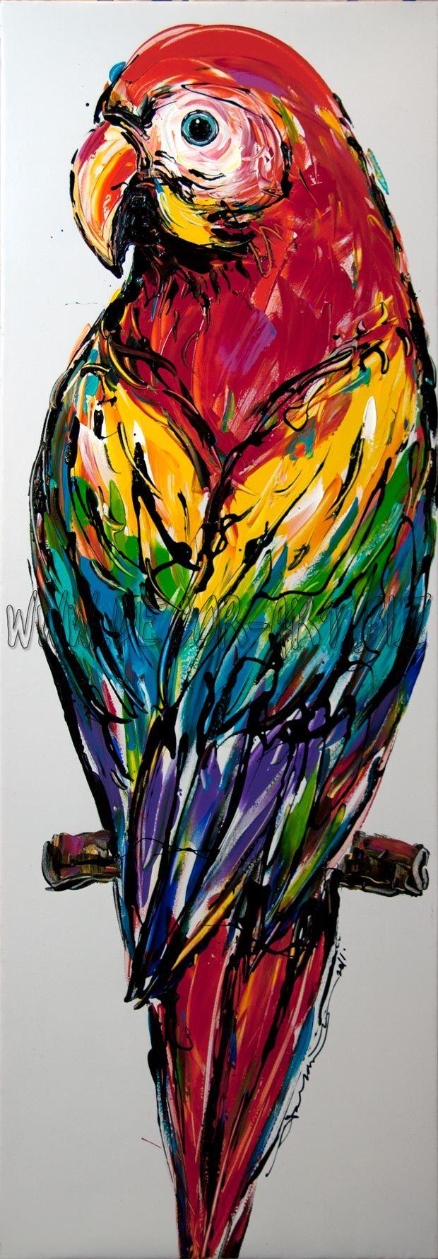 Multi color parrot 35×100cm by Sunthorn Phrachannok  Price: $65  Description: 35x100cm painting on white canvas