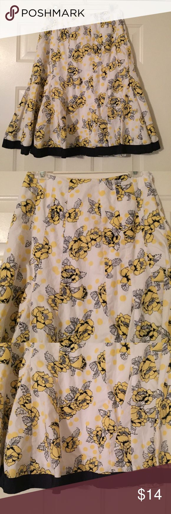 "Calf length skirt - career or casual Chadwick's navy, white, yellow skirt with an adorable floral pattern.  Calf length skirt - career or casual. Measurements:  14"" waist measured lying flat across the front. 26"" Length. SZ 8 Chadwicks Skirts"