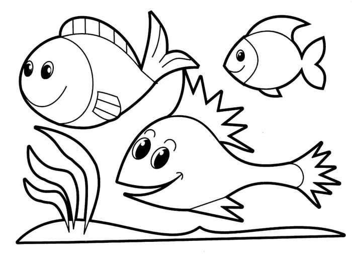 Easy Coloring Pages Fishes Animal Coloring Pages Fish Coloring Page Preschool Coloring Pages