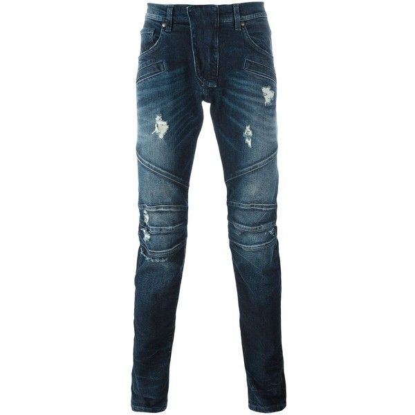 Pierre Balmain Skinny Jeans ($271) ❤ liked on Polyvore featuring men's fashion, men's clothing, men's jeans, navy, mens distressed jeans, old navy mens jeans, mens ripped skinny jeans, mens distressed skinny jeans and old navy mens skinny jeans