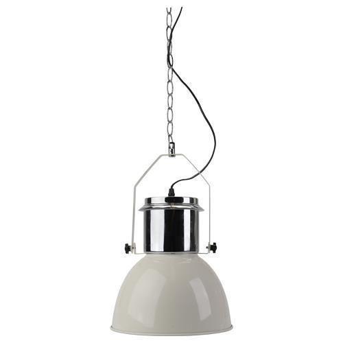 Design-industriale-Lampada-a-sospensione-Acciaio-inox-Crema-Plafoniera-nuovo