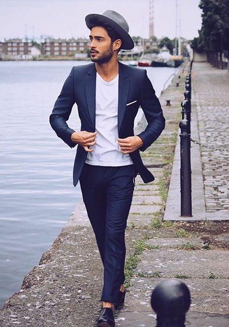 navy // menswear, mens style, mens fashion, suit, tshirt, hat