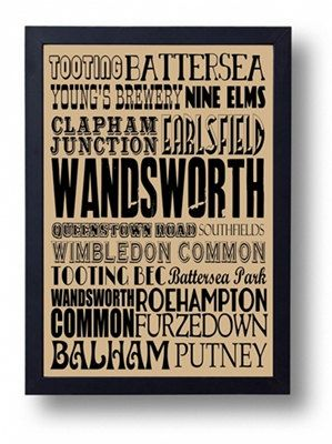Wandsworth London Tooting Battersea Balham Putney by indieprints, $15.00