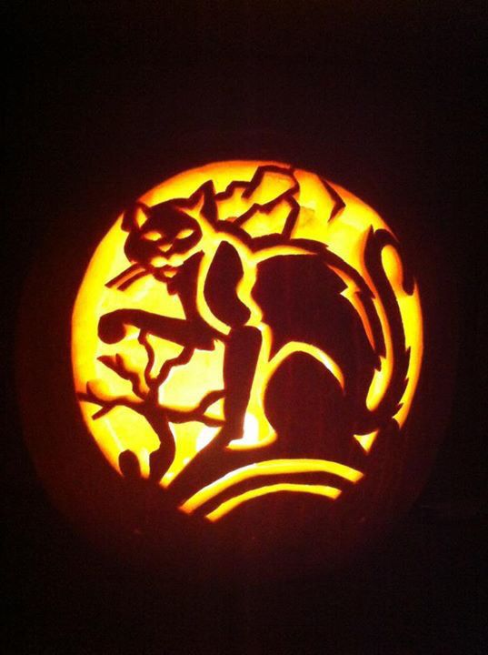 104 best images about pumpkin carving templates on for Cat carved into pumpkin