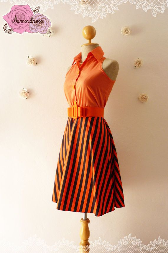 SALE Summer Dress Shirt Dress Jazzy Orange Dress by Amordress