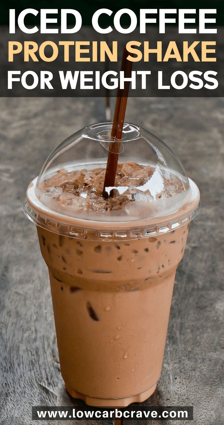 Healthy iced coffee protein shake recipe for weight loss (keto, low carb & sugar-free). This ...