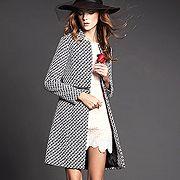 時尚千鳥格紋兩穿式顯瘦大衣 $3290