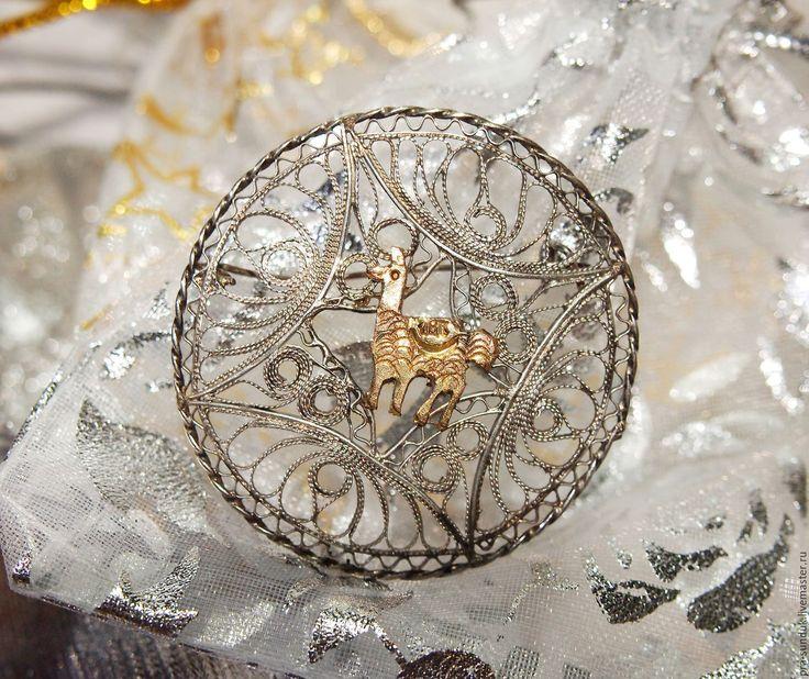 Старинная серебряная брошь «ЛАМА» Германия Конец XIX - начало ХХ вв.