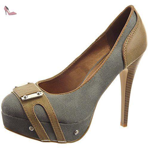 Sopily - Chaussure Mode Escarpin Decolleté Stiletto Plateforme Cheville femmes clouté Métallique Talon haut aiguille 12.5 CM - Dark Grey - WL-628-15 T 38 - Chaussures sopily (*Partner-Link)