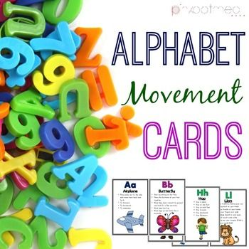 Alphabet Movement CardsThe alphabet movement cards are a fabulous way to incorporate working on letters and movement at the same time.  Help increase the child's alertness and participation in learning with movement!  Posters with letters and corresponding action picture are perfect for bulletin boards!