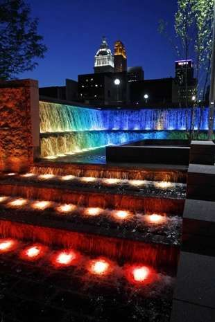 Colored LED lights make the fountain glow at Smale Riverfront Park