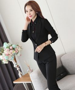 b5498aaf9 Two Piece Ladies Formal Pant Suit Office Uniform Designs Women Business  Suits Black Blazer For work Autumn Wear - Nolly Mall