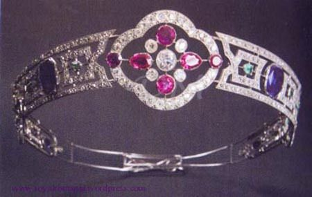 A less known tiara that once belonged to the Romanian royal family, probably to Queen Marie, now a property of country's Central Bank. The tiara (platinum, diamonds, sapphires, rubies, etc.) is exhibited at the National History Museum in Bucharest.