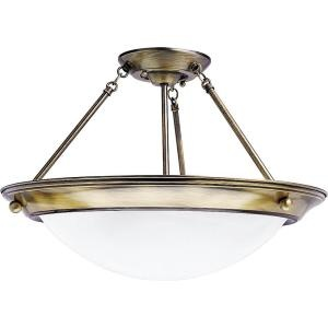 $128.52 Progress Lighting Eclipse Collection Antique Brass 2-light Semi-flushmount - Model # P7327-11EBWB at The Home Depot