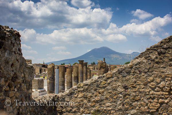 More Pompeii ruins with Mount Vesuvius in background