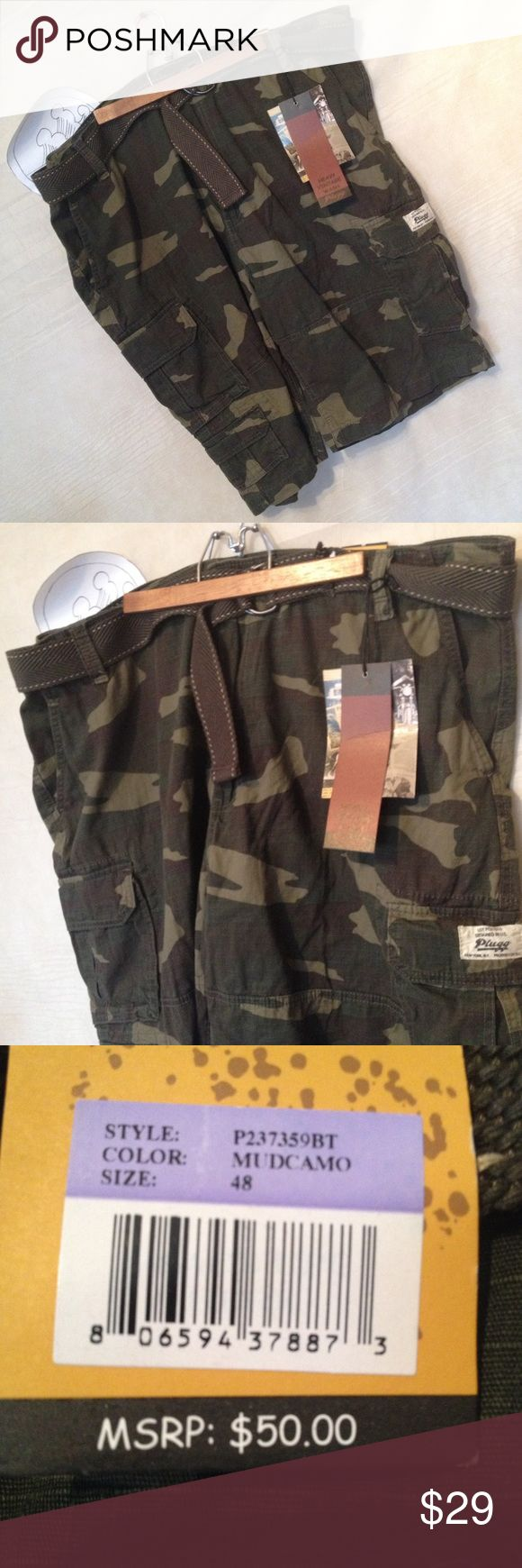 NWT Plugg green camo short size 46 canvas belt New with tags mens camo shorts, never worn, 1 day handling.  Thank you.  SKU 112116.001.00Y Plugg Shorts Cargo