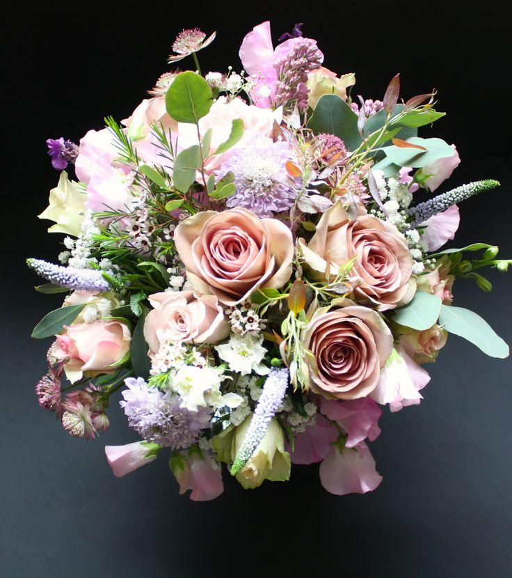 Amnesia roses, blue scabious, lilacs & sweet peas.