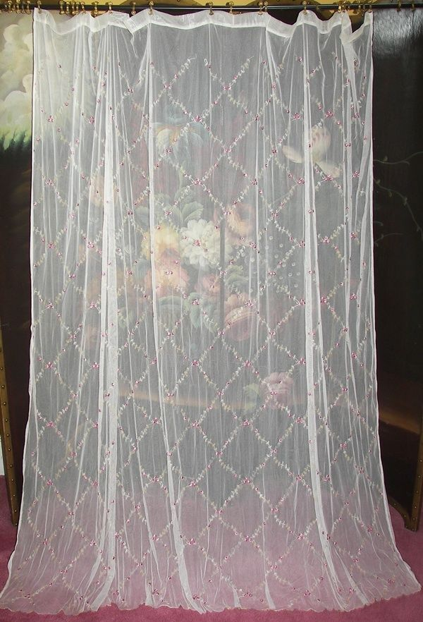 VINTAGE VICTORIAN SHABBY ROSE CHIC EMBROIDERED NET FLORAL LACE SHOWER  CURTAIN Picclick.com
