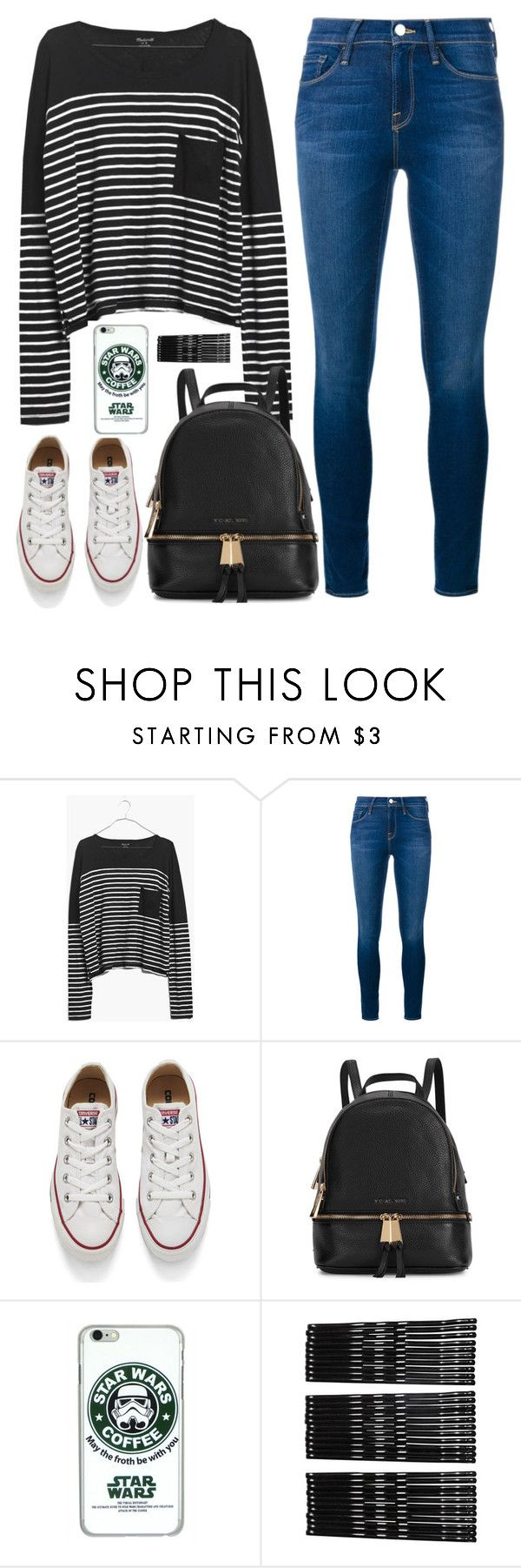 """""""I'm soo bored."""" by caro3302 ❤ liked on Polyvore featuring moda, Madewell, Frame Denim, Converse, Michael Kors, Monki, women's clothing, women, female i woman"""