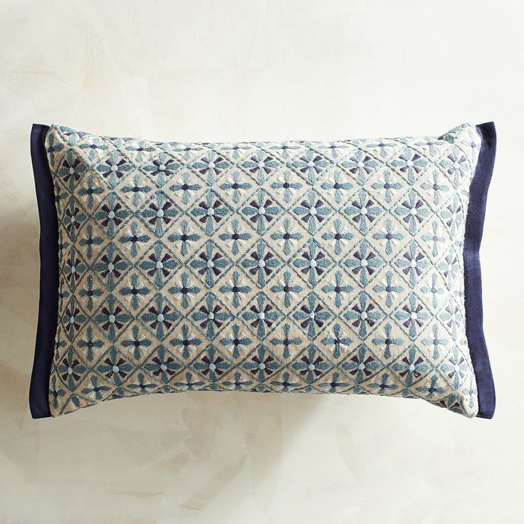 Blue And Gray Throw Pillows Part - 41: Embroidered Tiles Add A Dimension Of Texture And Individuality To Our  Lumbar Pillow, And The Varying Shades Of Blue Boost Its Versatility Factor.