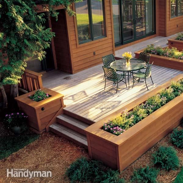 Deck Garden Ideas this would be great with a jacuzzi inside covered deck with windowbox container garden is Built In Planter Ideas