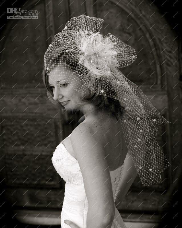 Birdcage Network Short Wedding Veil With Delicate Big Sheer Flower Handmade Noble Bridal Headwear Accessory Accessories E190