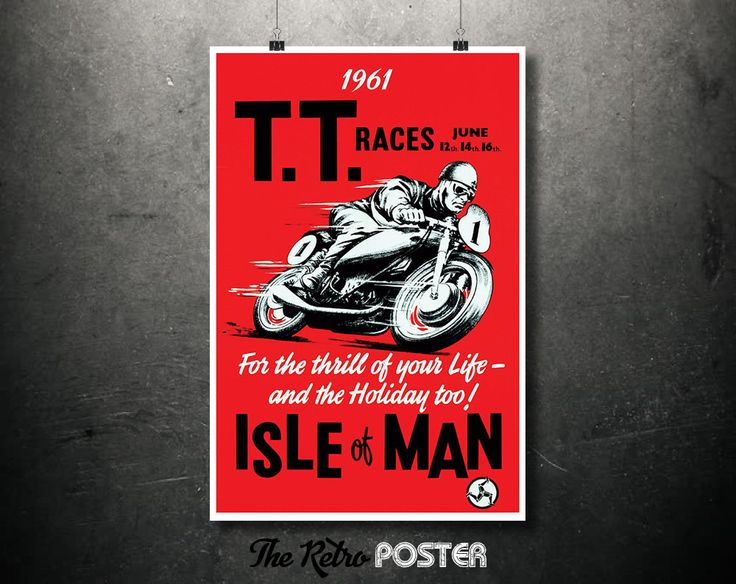 1961 T.T. Races - For the thrill of your Life - and the Holiday too! - Isle of Man // High Quality Fine Art Reproduction Giclée Print by TheRetroPoster on Etsy