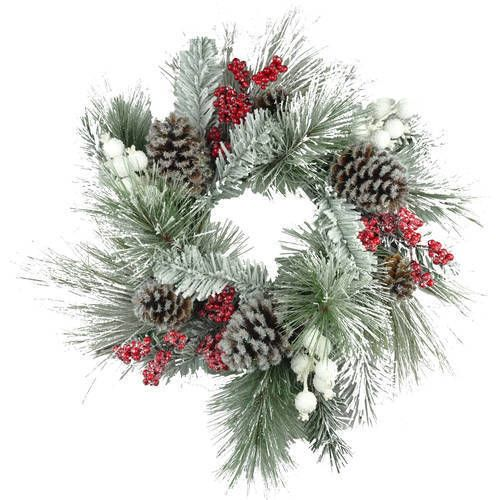 "Christmas Poinsettia Wreath 20"" Door Ornament Holiday Decor White Flocked Berry #1"