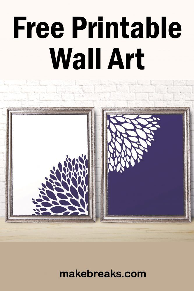 Free Printable Wall Art Purple And White Flower In 2020 Free Printable Wall Art Wall Printables Printable Wall Art