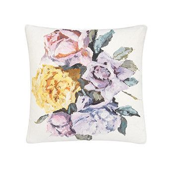 $195.00  A rich and vivacious digitally printed floral cushion. feminine impressionistic arrangements in soft pastel shades, upon a soft white linen ground. fine heather silk trim on all sides, and pale celadon reverse.  Size: 60 x 60 cm  Available in store at Putti Toronto or on line at www.putti.ca