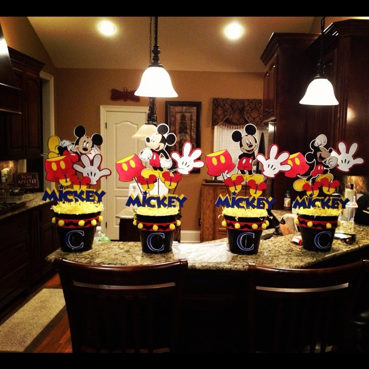 Centerpieces Birthday Tables Ideas find this pin and more on diy create an inexpensive and easy centerpiece Mickey Mouse Centerpieces For Coens 1st Birthday