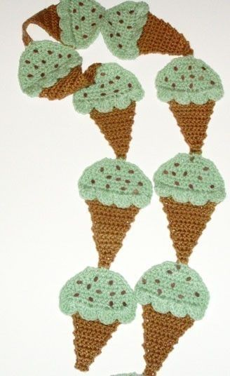 Crochet Pattern for Chocolate Chip Mint Ice Cream Cone Scarf