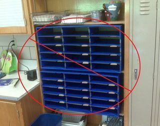 "Do this, not that guide to keeping an organized classroom... She has an idea that would save me from those huge ""student mailboxes."""